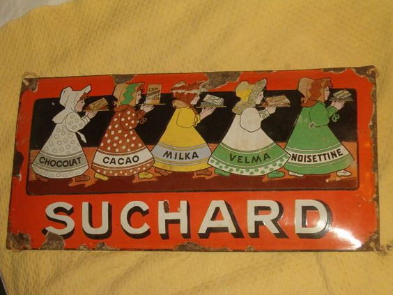 d tails sur ancienne plaque emaillee chocolat suchard suisse switzerland publicitaire suisse. Black Bedroom Furniture Sets. Home Design Ideas