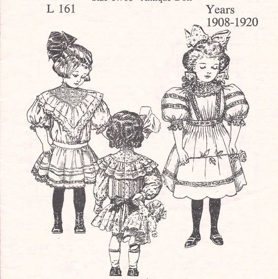 "17 18""Antique French German Child Doll 1908 '20 Dress Variations Pattern Jumeau 