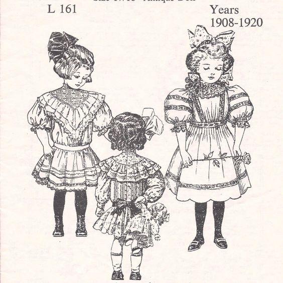 "17 18""Antique French German Child Doll 1908 '20 Dress Variations Pattern Jumeau | eBay"