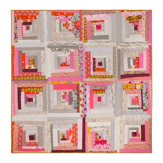 Tipsy Log Cabin quilt by Wise Craft Handmade