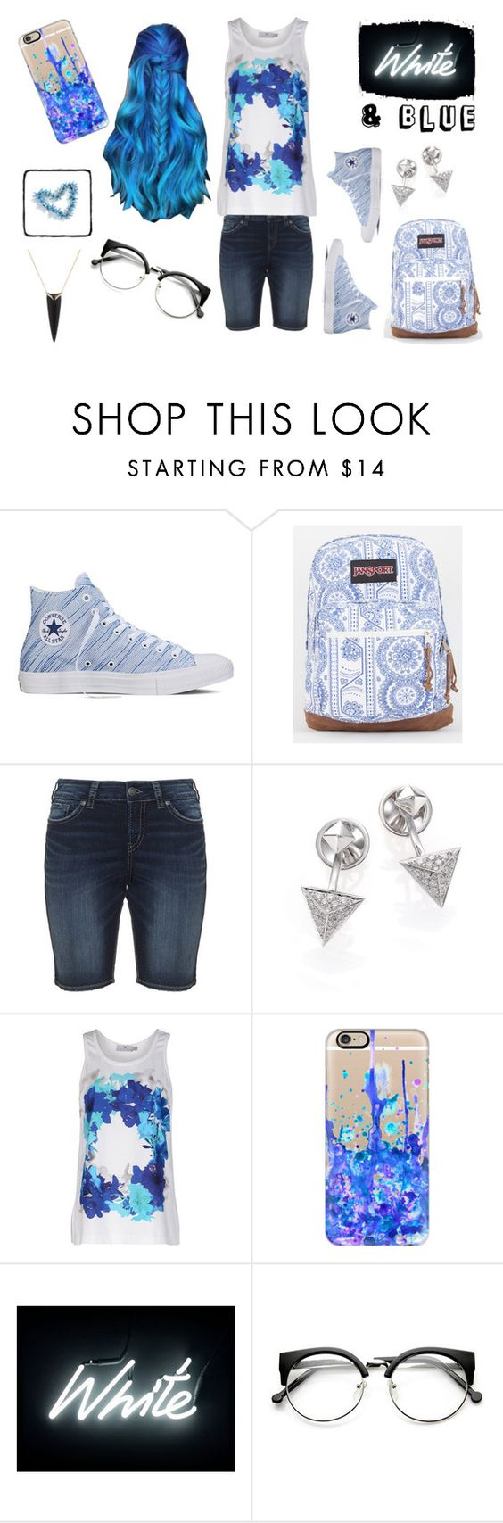 """""""Blue & White"""" by geeklychic1417 ❤ liked on Polyvore featuring Converse, JanSport, Marli, adidas, Casetify, Seletti and Alexis Bittar"""
