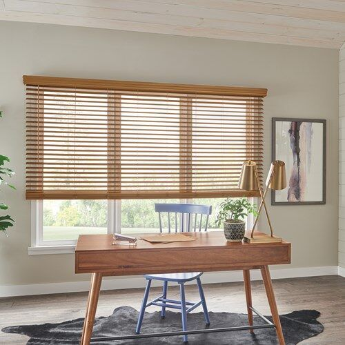 Basic Cordless 2 Faux Wood Blind Wood Blinds Faux Wood Blinds Blinds For Large Windows