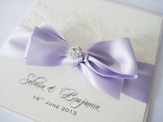 Lace and orchid purple satin wedding invitation