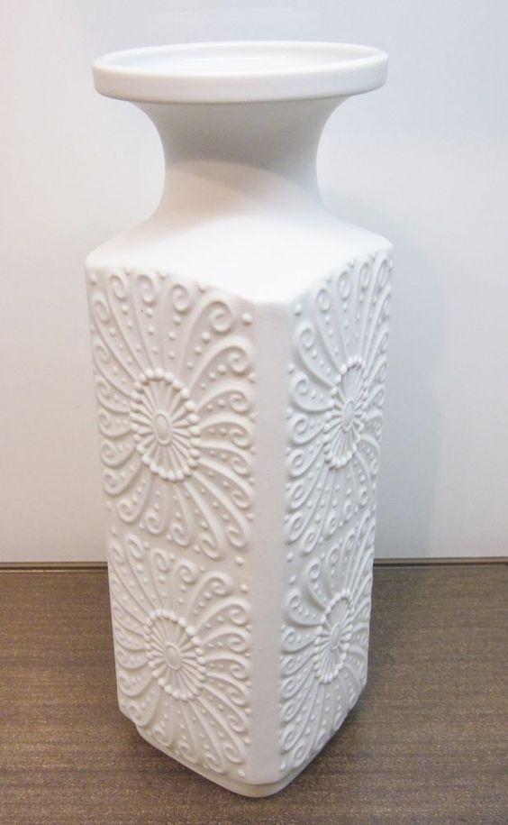 Royal Bavaria KPM Vase Weiß Prozellan m. Motiv Germany Handarbeit ca. 25cm Hoch