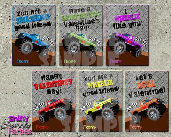 Monster Truck Valentine Cards - Printable (Digital File Only) Instant Download - Valentine Cards for boys - Monster Truck Valentines - Valentines for school - Classroom Valentines