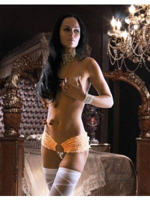 Sexy Pleasure Beads Crotch Garter Belt