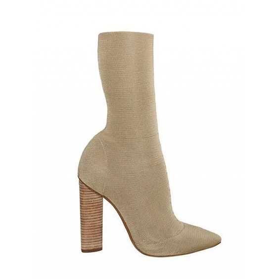 Choies Light Khaki Pinted Toe Stretch Heeled Knee High Boots (£65) ❤ liked on Polyvore featuring shoes, boots, khaki, knee boots, stretch knee high boots, knee high boots, stretch boots and khaki boots