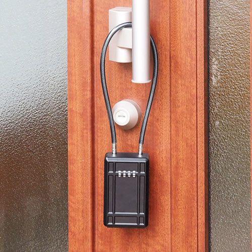 鍵収納ボックス キーボックス ダイヤル式 大型サイズ ワイヤー式 ワイヤー長46cm 盗難防止 200 Sl066bkの販売商品 通販ならサンワダイレクト ダイヤル 鍵 キーボックス