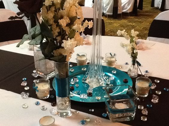 Chocolate And Teal Wedding Reception