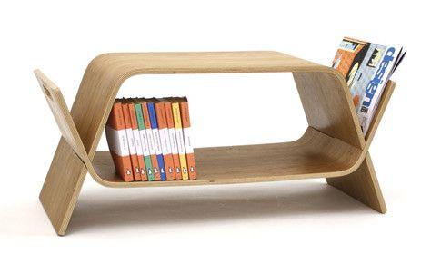 bench and bookshelf