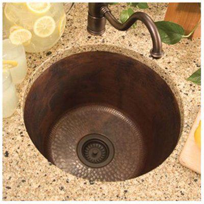 """17.75"""" x 17.75"""" Redondo Grande Hand Hammered Bar Sink - Finish: Antique Copper"""