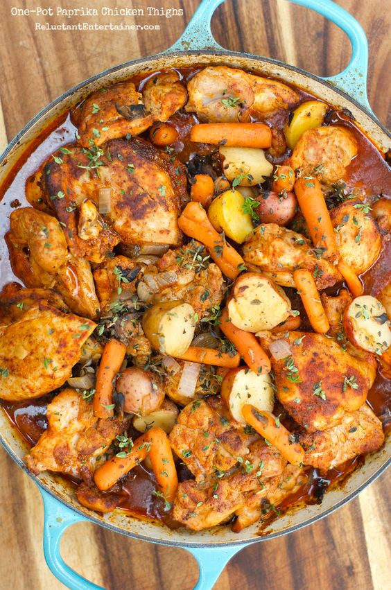 One-Pot Paprika Chicken Thighs | Recipe | Wine, Potatoes and Meals