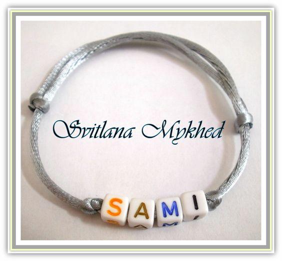 Bracelet `Sami`. bracelet homme, femme, enfant, nouveau-né avec prénom ou message (multicolore) : Bracelet par perles-et-couronnes
