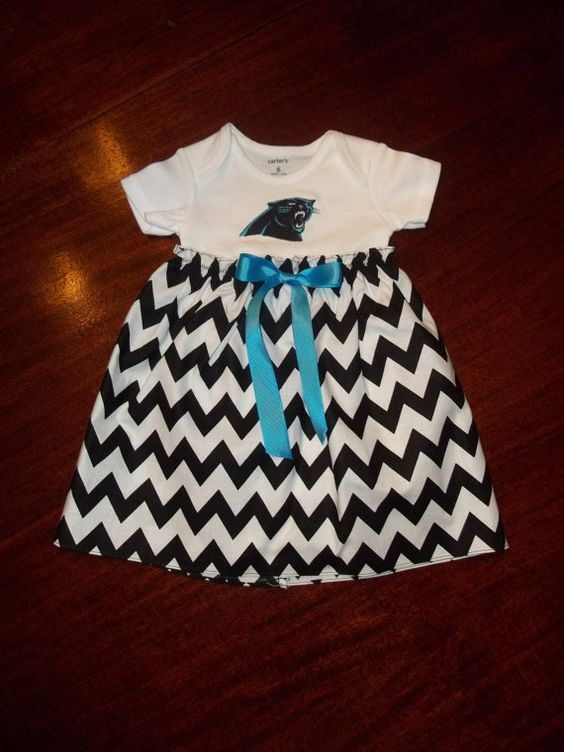Carolina Panthers Baby Dress Gown Chevron by SewSweetTs on Etsy ...
