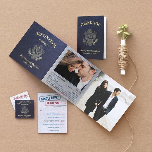 Passionate Passport - Signature White Wedding Invitations - Fine Moments - Navy - Blue : Front
