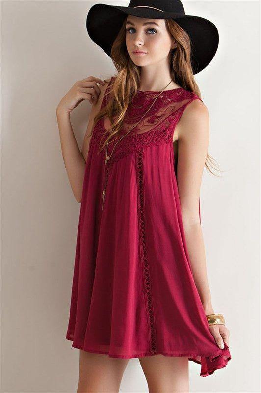 PALOMA Lace Trim A-line Dress