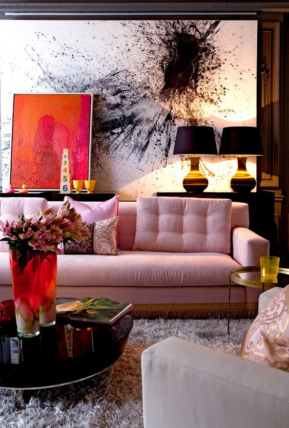 Pink and black living room: