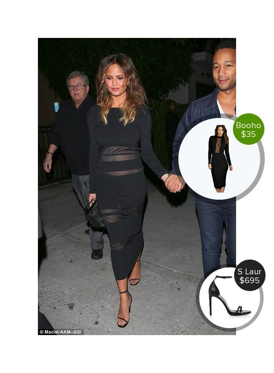 Chrissy Teigen out to dinner at Mastro's Steakhouse - seen in Saint Laurent. #saintlaurent  #chrissyteigen @dejamoda