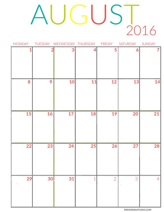 FREE PRINTABLE 2016 CALENDAR:AUGUST Get all 12 Monthly Calendars in an ...