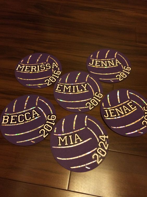 Locker signs cricut volleyball with metallic paper behind it. Name and year of graduation