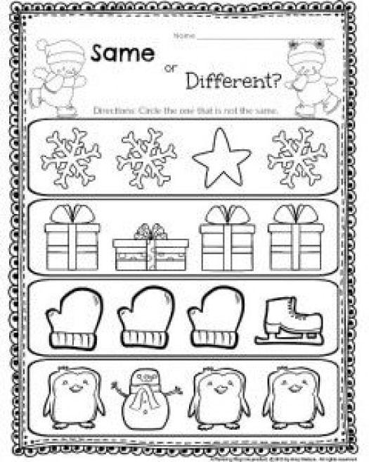 Same Or Different Worksheet For Kindergarten And Other Cute Kindergarten Printables Kindergarten Preschool Worksheets Literacy Worksheets Preschool Learning