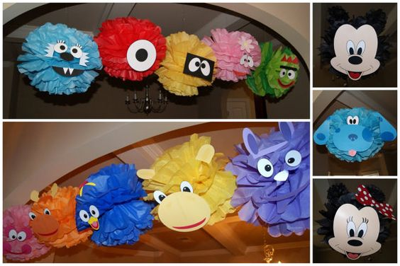 Character inspired Tissue Paper Pom Pom's Children's Birthday Party Decorations