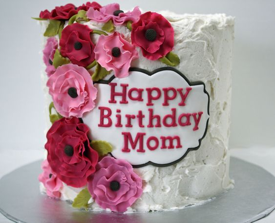 birthday cake for mom happy birthday cake with pink flowers frosted bake 1749
