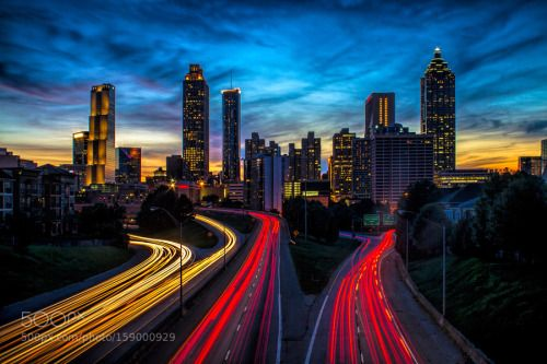 Atlanta Skyline by markchandler  sky red city sunset color street downtown light buildings urban architecture cars cityscape highway