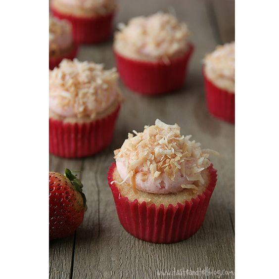 Strawberry Colada Cupcakes