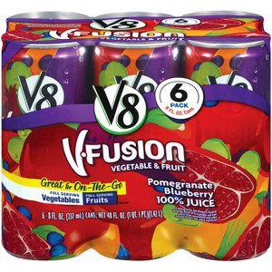V8 V-Fusion Pomegranate Blueberry Vegetable & Fruit Juice, 8 oz, 6pk