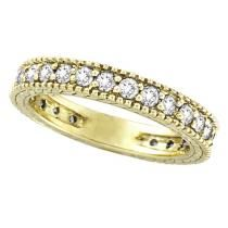 Diamond Eternity Milgrain Edged Ring Band 14k Yellow Gold (1.00c