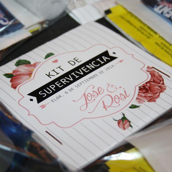 Diseño de invitación de boda, agradecimiento, carta de menú y kit de súpervivencia por @Yolandacabrerod