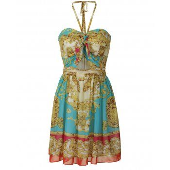 SCARF DRESS IDEAS | Lipsy scarf print babydoll dress. The lipsy halterneck dress features ...