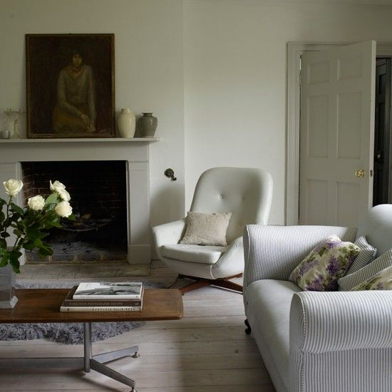 Farrow and Ball Cornforth white living room