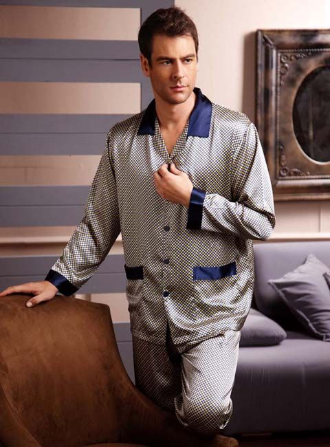 Classic Men's silk pajamas s840 blue