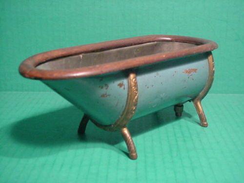 1890 39 s antique salesman sample victorian bathtub tin copper oak patent model antiques. Black Bedroom Furniture Sets. Home Design Ideas