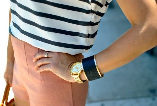 Styling Striped Tees, Gold Watch, Coral Shorts #GetStyled #Fashion www.iosiswellness.com