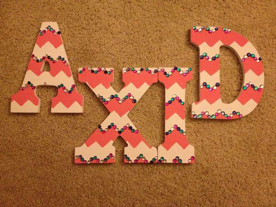 Alpha Xi Delta pink chevron letters