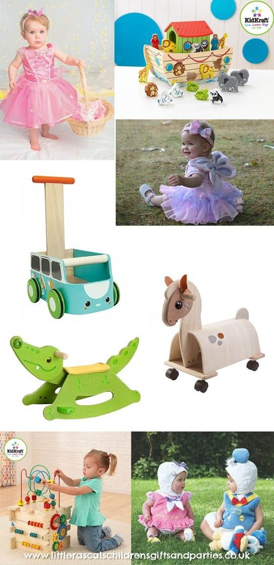 A range of gifts for toddlers ~ from beautiful wooden ride on and push along toys to wooden educational toys and fancy dress