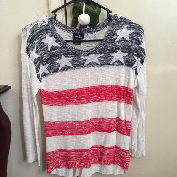 American flag sweater Knitted. Cozy and comfy. More of a lightweight sweater. Rue 21 Sweaters Crew & Scoop Necks