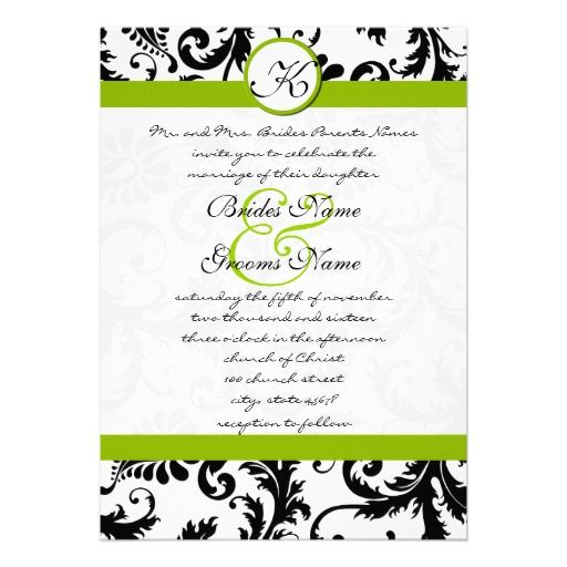 Apple Green Damask Swirls Wedding Invitation Another Color Other Than