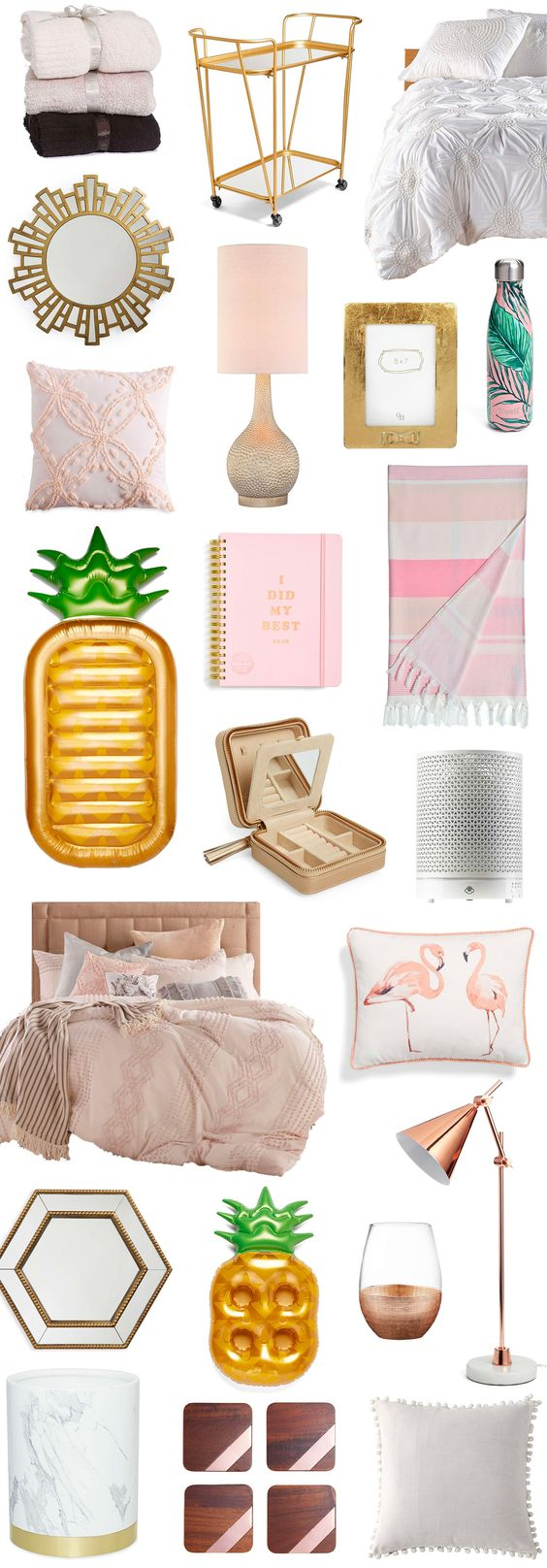Affordable home decor finds that you will LOVE. P.S. All of these feminine home decor items are currently on sale in the Nordstrom Anniversary Sale for crazy low prices. To see the best home decor deals from the Nordstrom Anniversary Sale, click through this pin from Orlando, Florida lifestyle blogger Ashley Brooke Nicholas! | cute home decor, home decor ideas, pink gold and white home decor, cute bedding, gold bar cart, pink and green palm trees, flamingos, gold mirrors, Nordstrom style