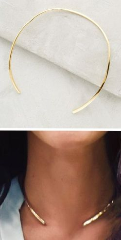 Open gold collar necklace - perfect with a little black dress