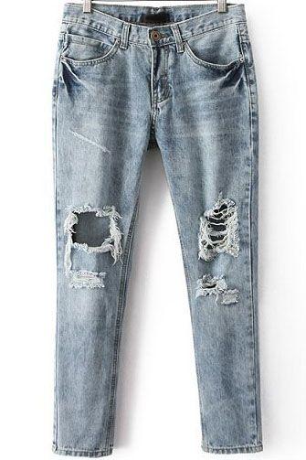 Jeanshose mit ausgefranstem Design, blau-Sheinside