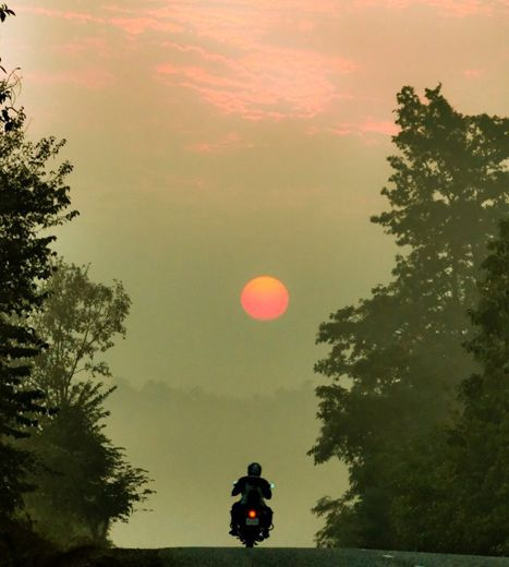 Riding into the sunrise, Nepal. So Motorcycle Diaries ...