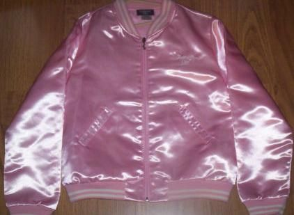 Pink satin baseball jacketyep wore it all the time