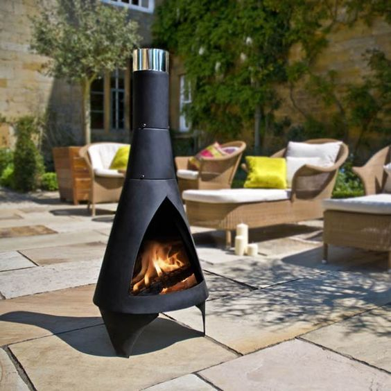 Modern Chiminea for Outdoor Decoration with or without Grill : Modern Chiminea