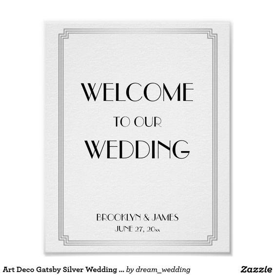 Art Deco Gatsby Silver Wedding Reception Sign Poster