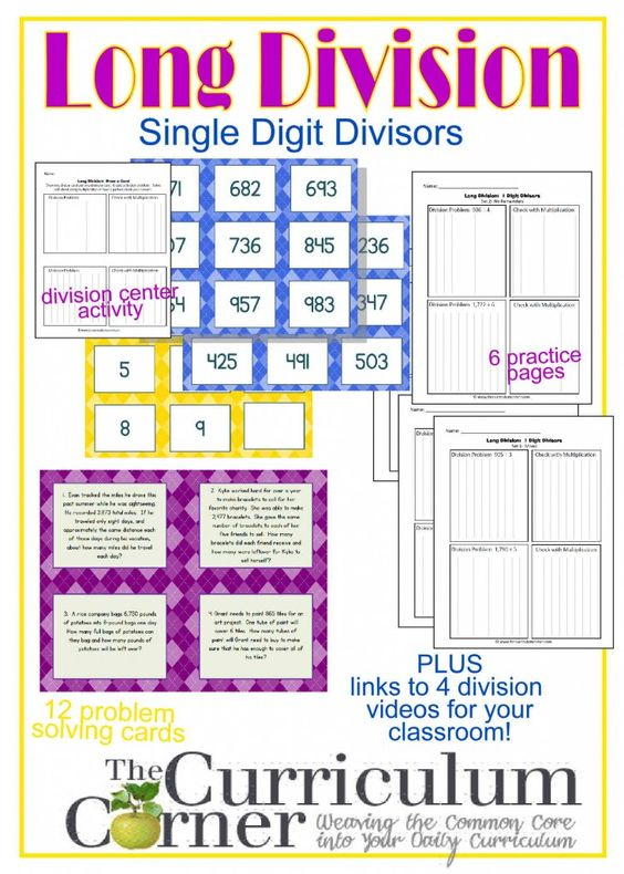 Long Division Resources (1-Digit Divisor | Activities, Student ...