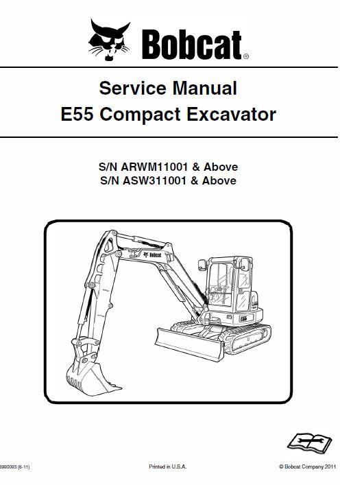 Bobcat E55 Compact Excavator Service Manual Earth Moving Equipment Excavator Bobcat